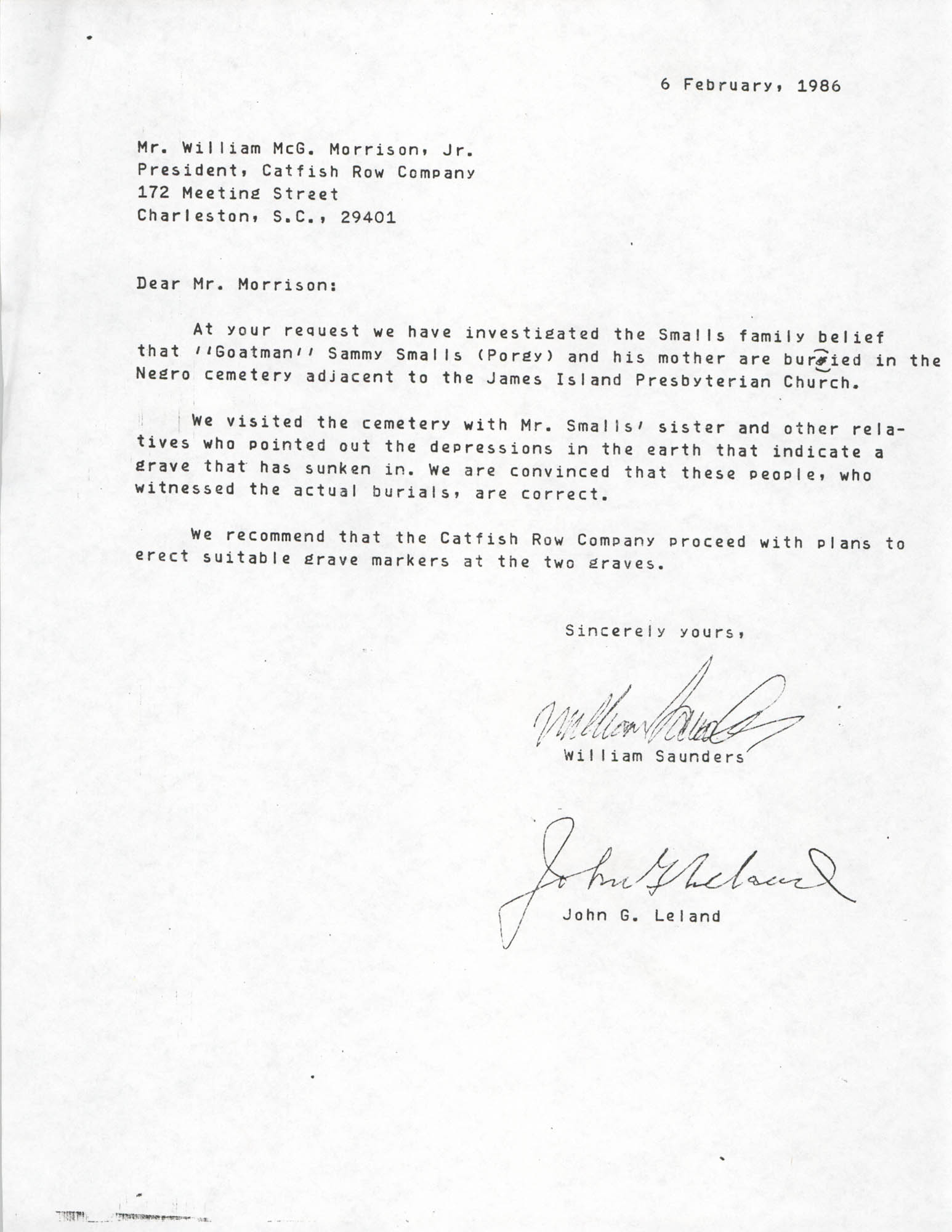 Letter from William Saunders and John G. Leland to William Morrison, Jr., February 6, 1986