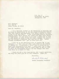 Letter from Sandra Brenneman Oldendorf to Bill Saunders, January 21, 1987