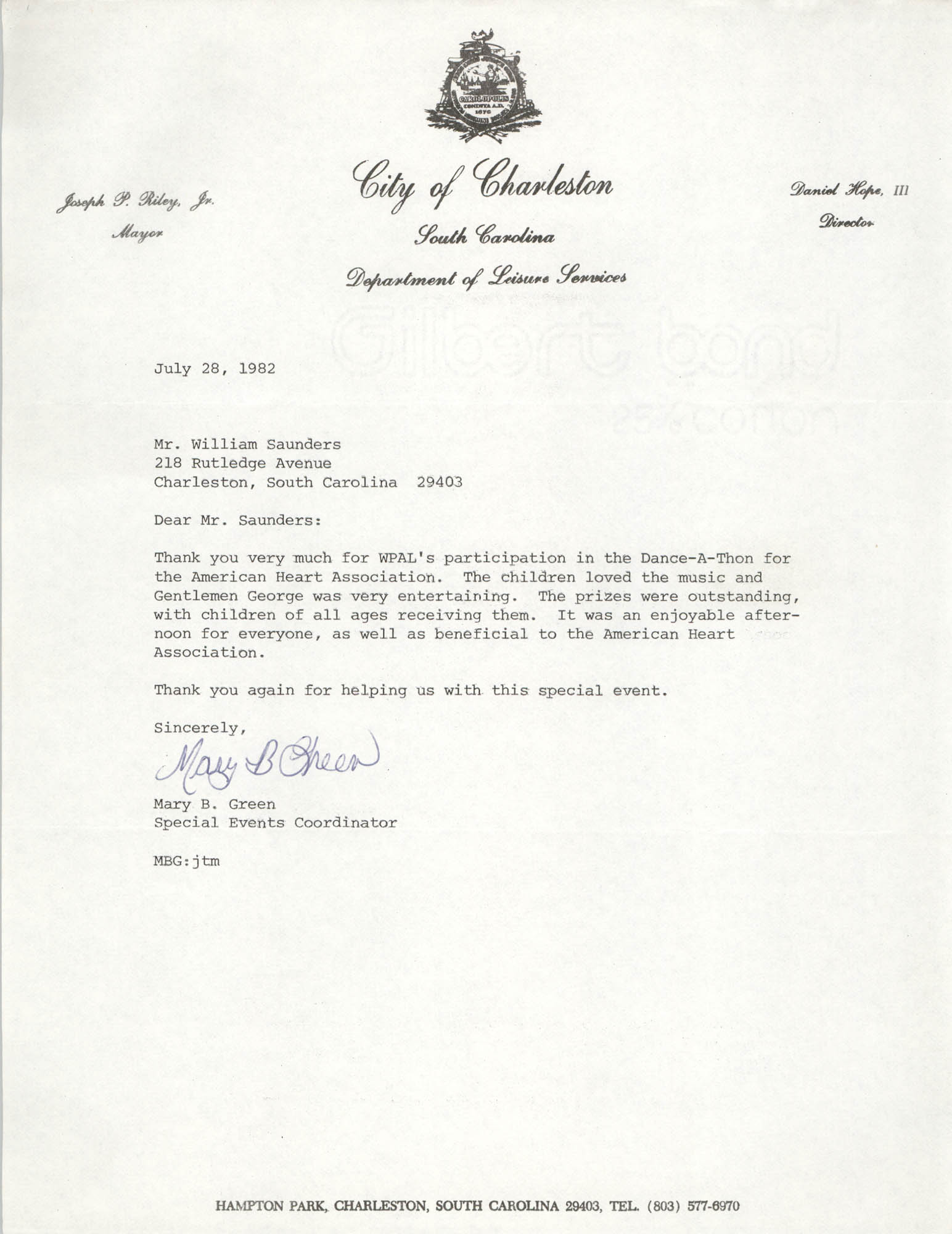 Letter from Mary B. Green to William Saunders, July 28, 1982
