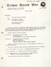 Trident United Way Memorandum, July 3, 1980