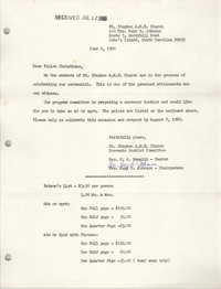 Letter from St. Stephen A.M.E. Church, June 6, 1980