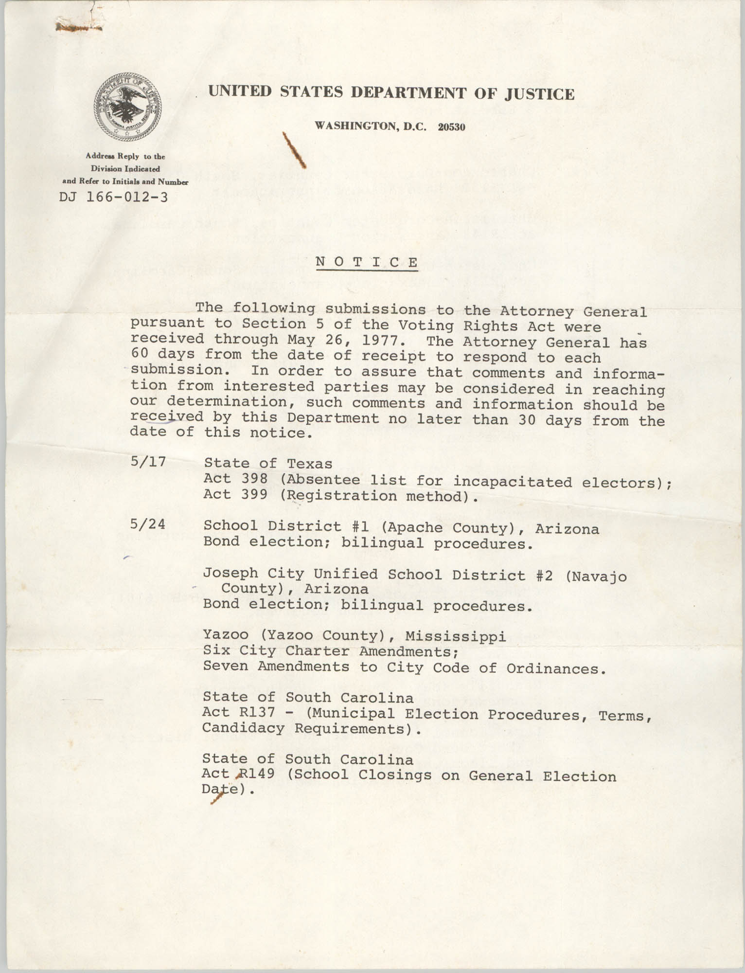 United States Department of Justice Notice, May 26, 1977