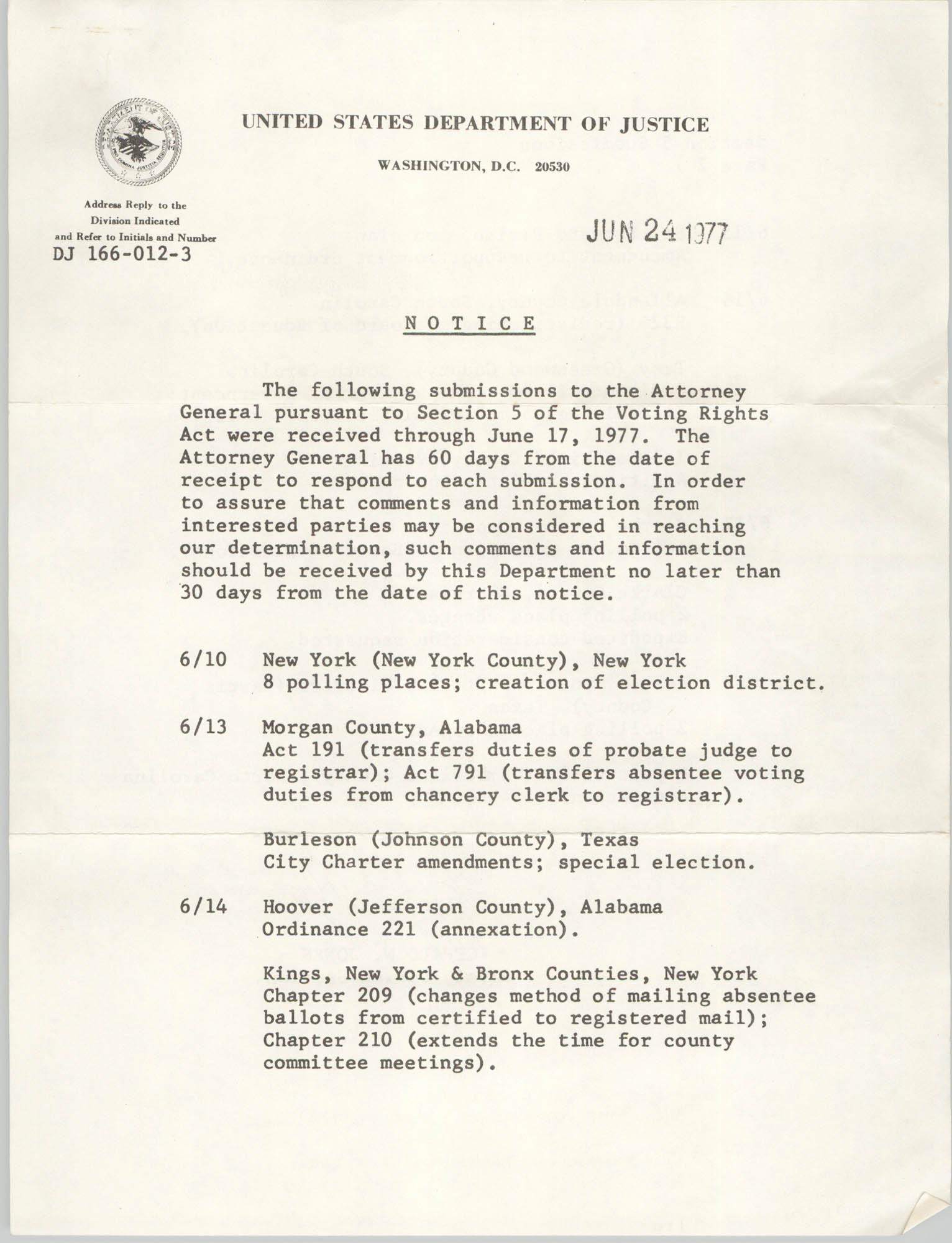 United States Department of Justice Notice, June 24, 1977