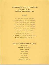52nd Annual State Convention Report of the Nominating Committee