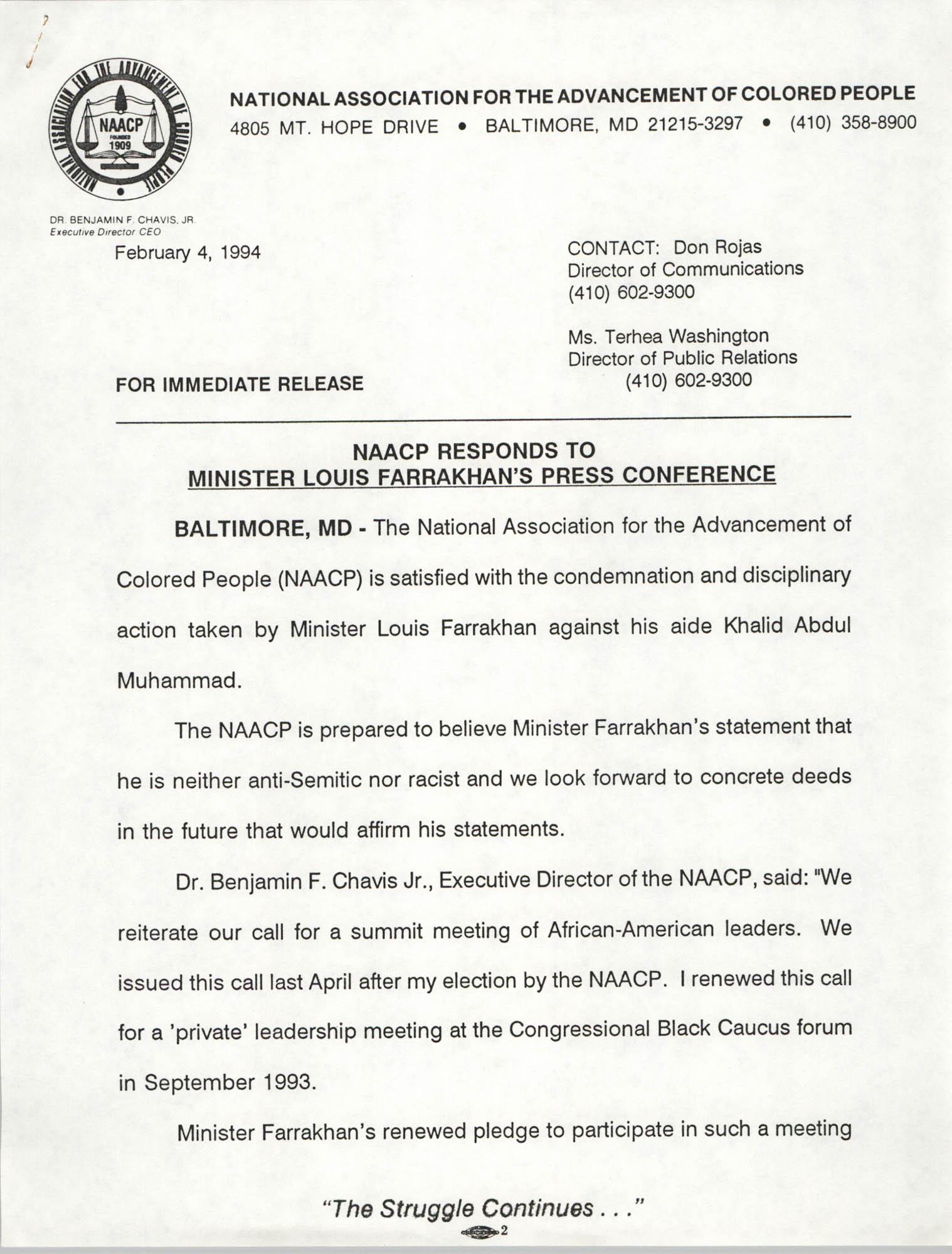 NAACP Press Release, February 4, 1994