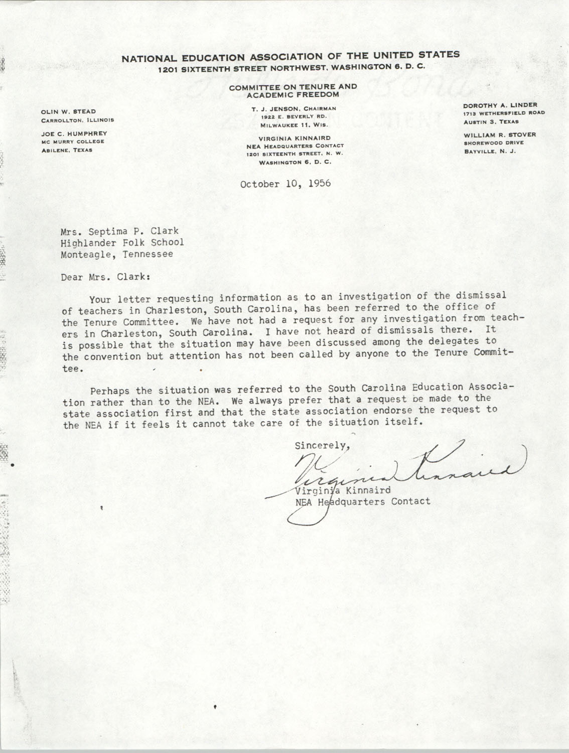 Letter from Virginia Kinnaird to Septima P. Clark, October 10, 1956