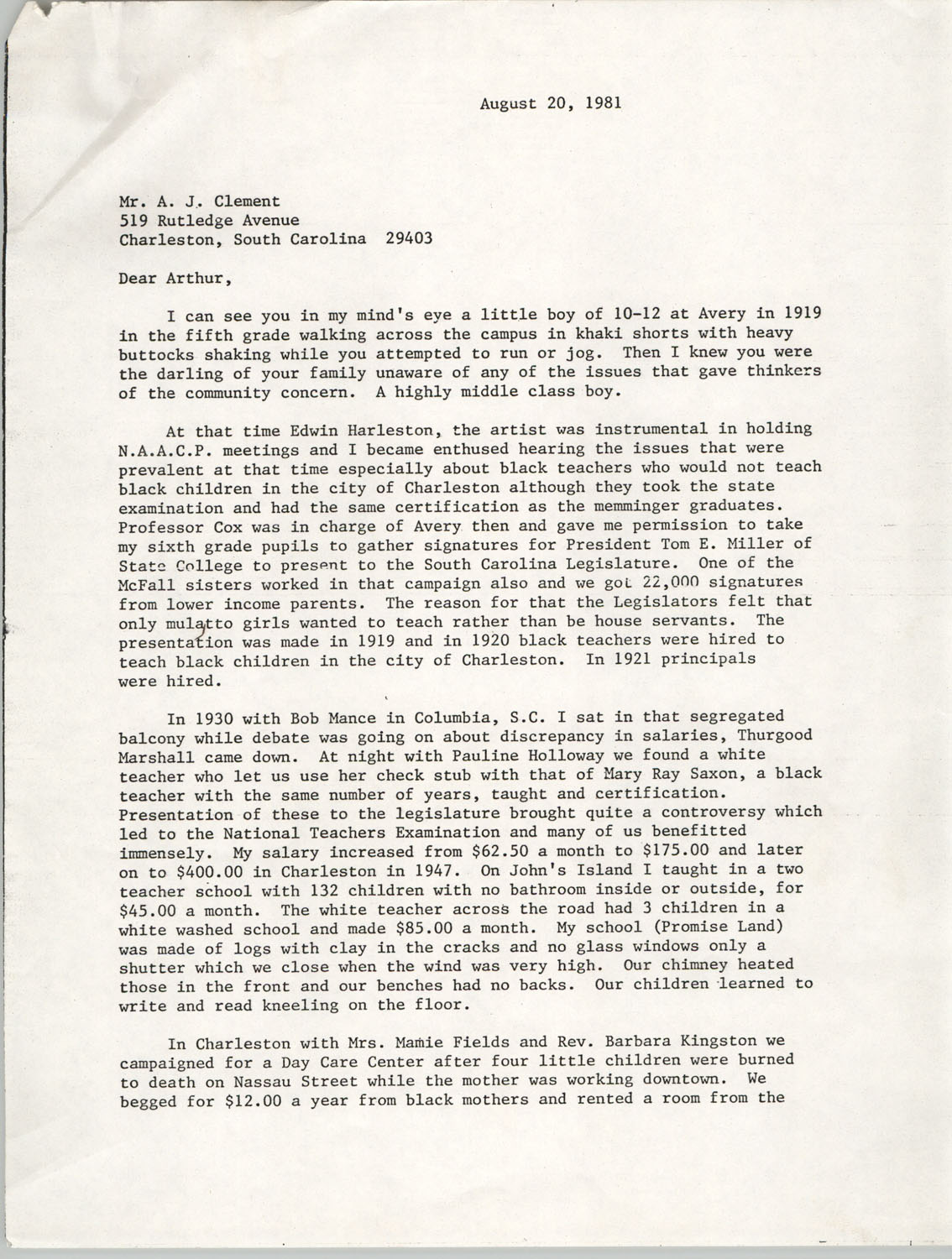 Letter from Septima P. Clark to A. J. Clement, August 20, 1981