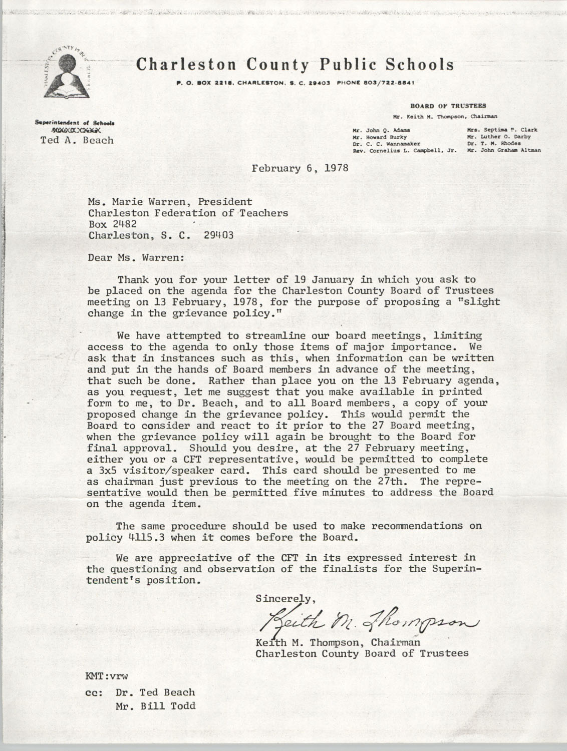 Letter from Keith M. Thompson to Marie Warren, February 6, 1978