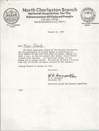 Letter from W. F. Davenport to Septima P. Clark, January 16, 1978