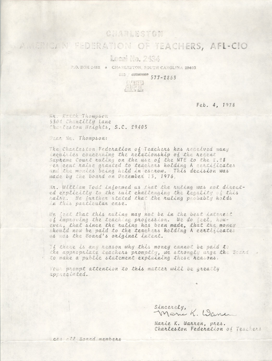 Letter from Marie K. Warren to Keith Thompson, February 4, 1978