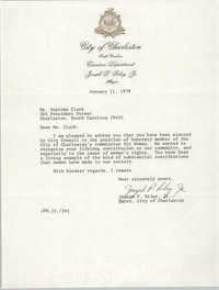 Letter from Joseph P. Riley, Jr. to Septima Clark, January 11, 1978
