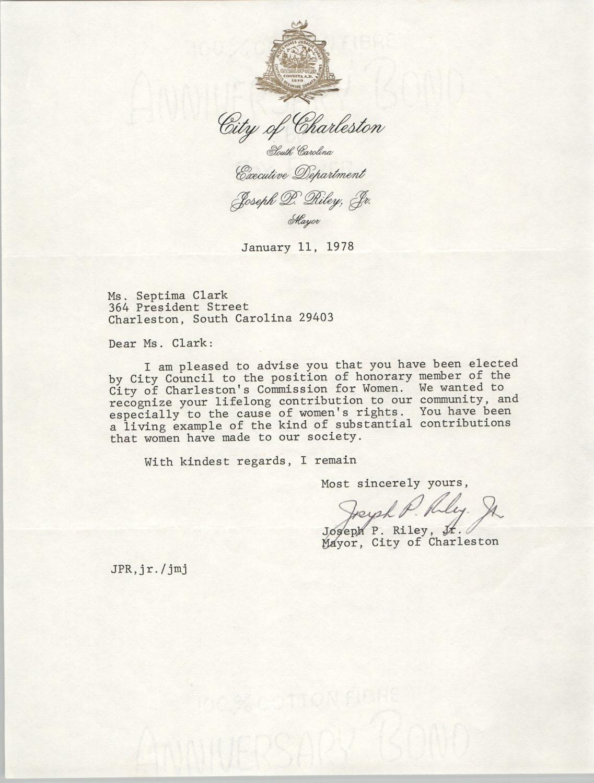 Letter from Joseph P. Riley, Jr. to Septima Clark, January 11, 1978