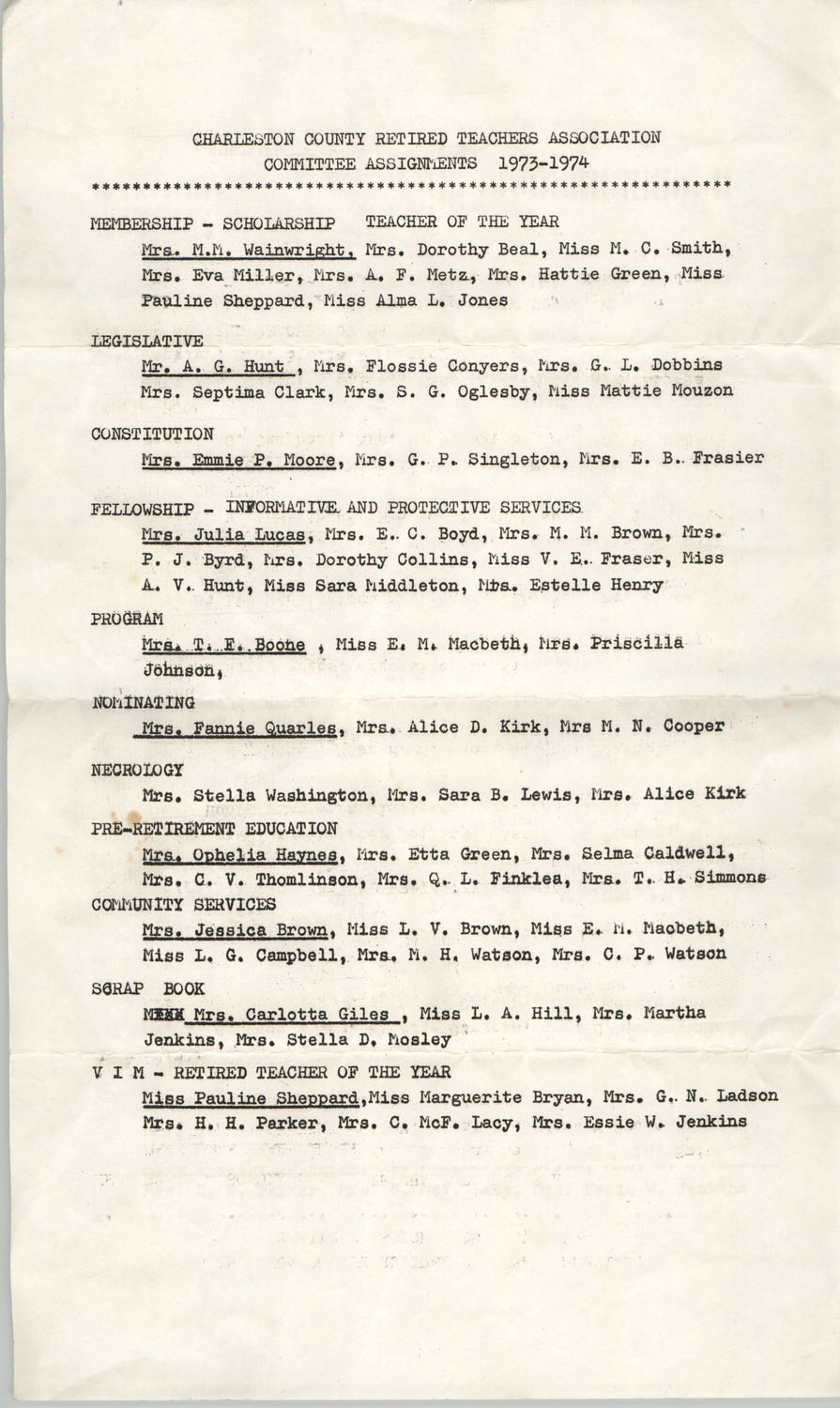 Charleston County Retired Teachers Association Committee Assignments 1973-1974