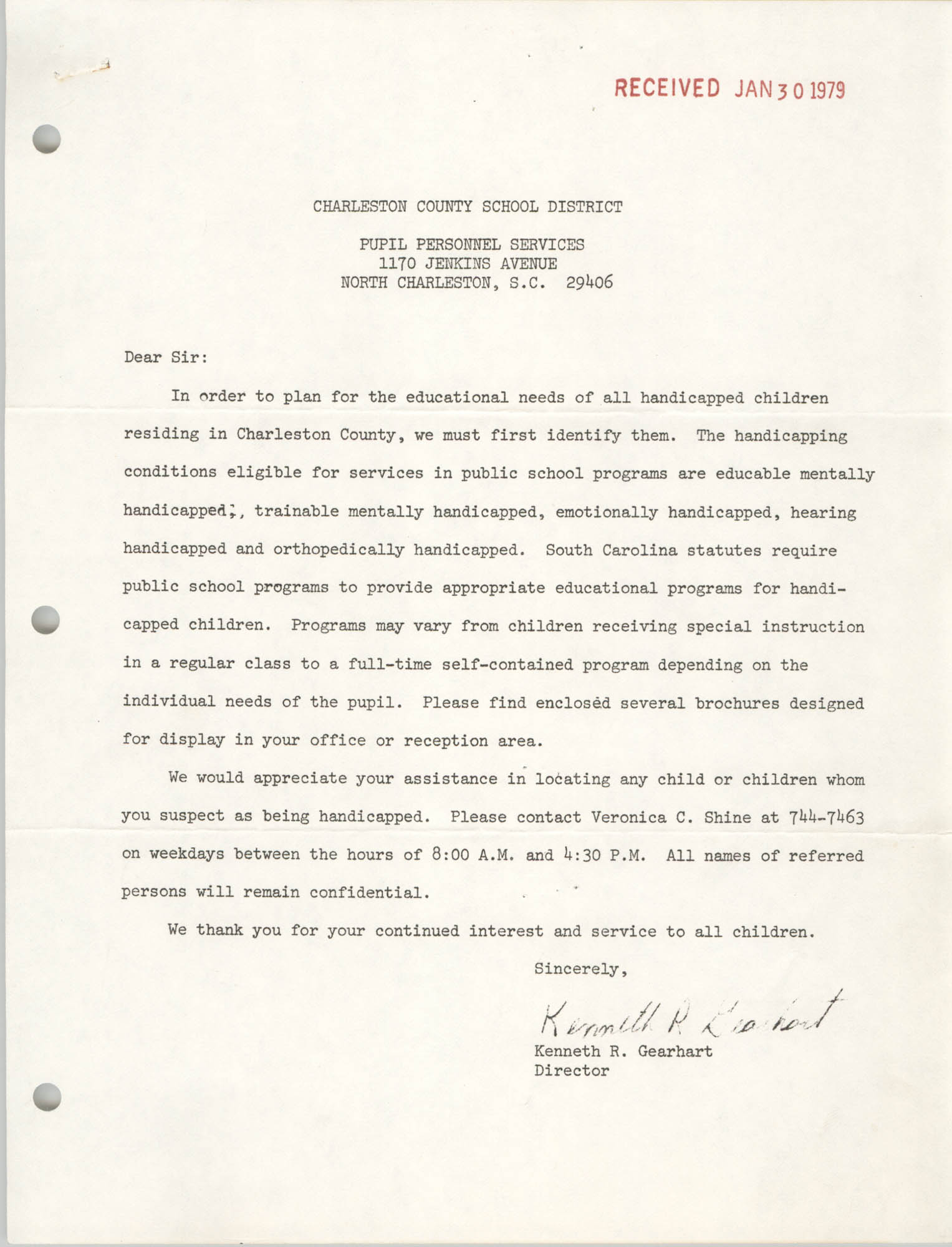 Letter from Kenneth R. Gearhart to Pupil Personnel Services, January 30, 1979