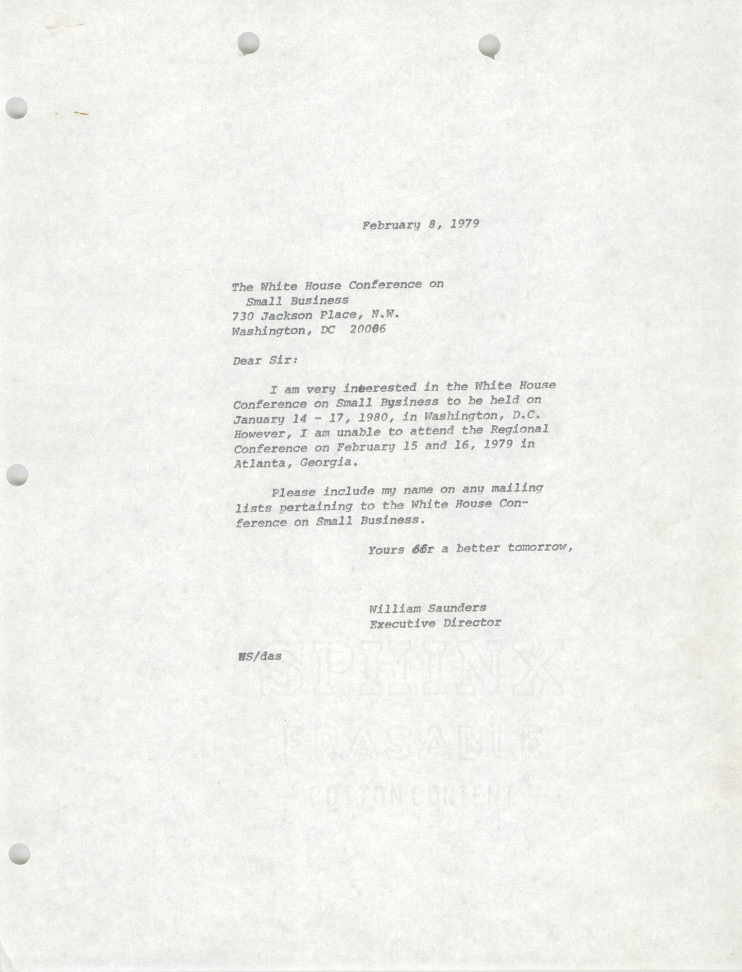 Letter from William Saunders to The White House Conference on Small Business, February 8, 1979