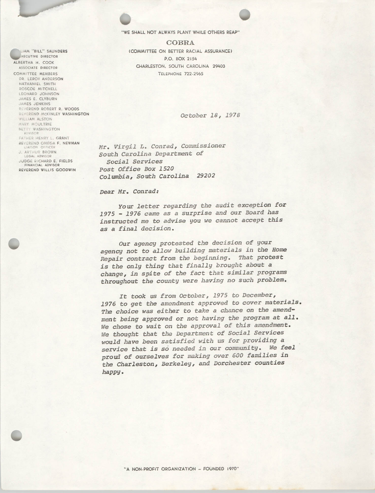 Letter from William Saunders to Virgil L. Conrad, October 18, 1978