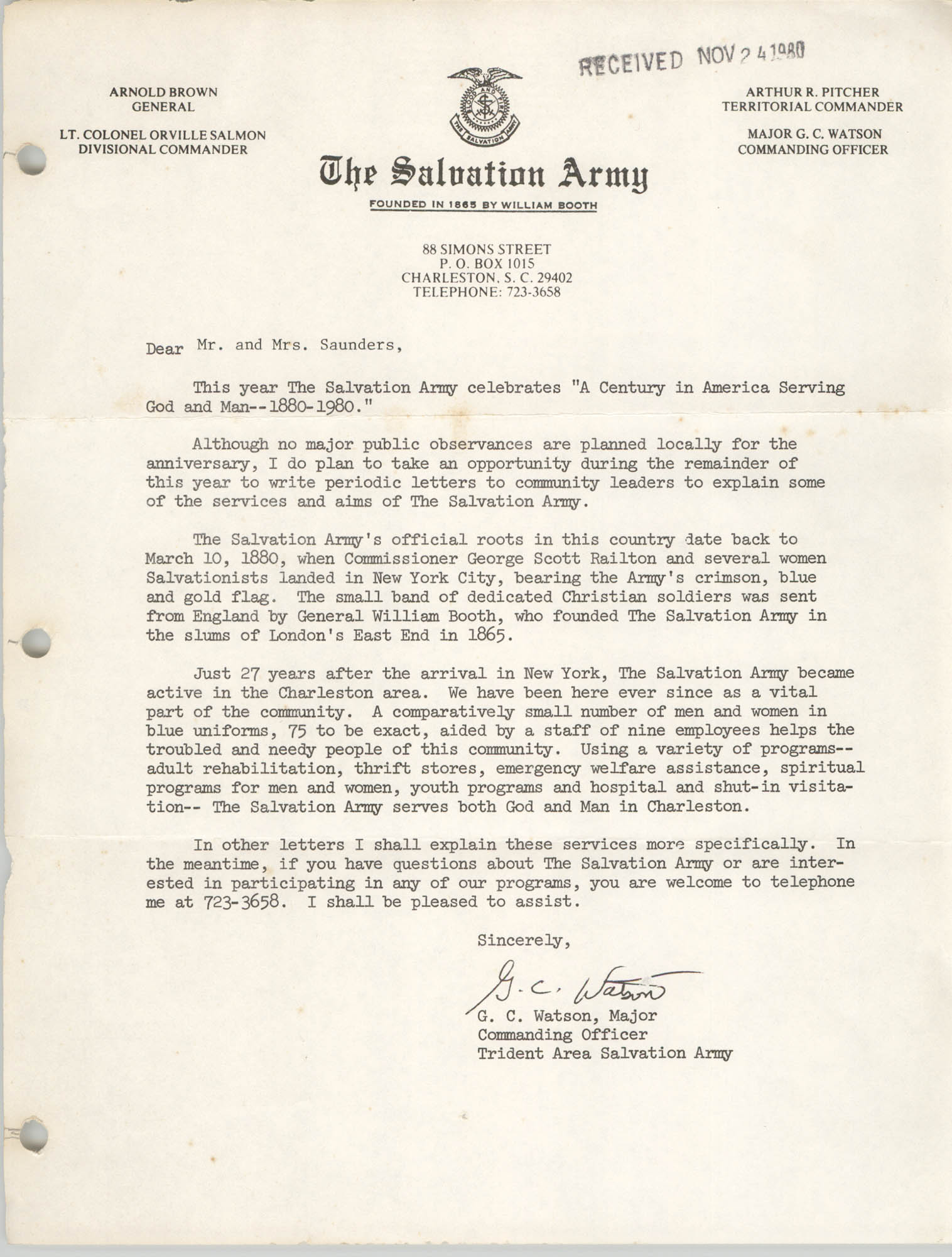 Letter from G. C. Watson to William Saunders, November 24, 1980
