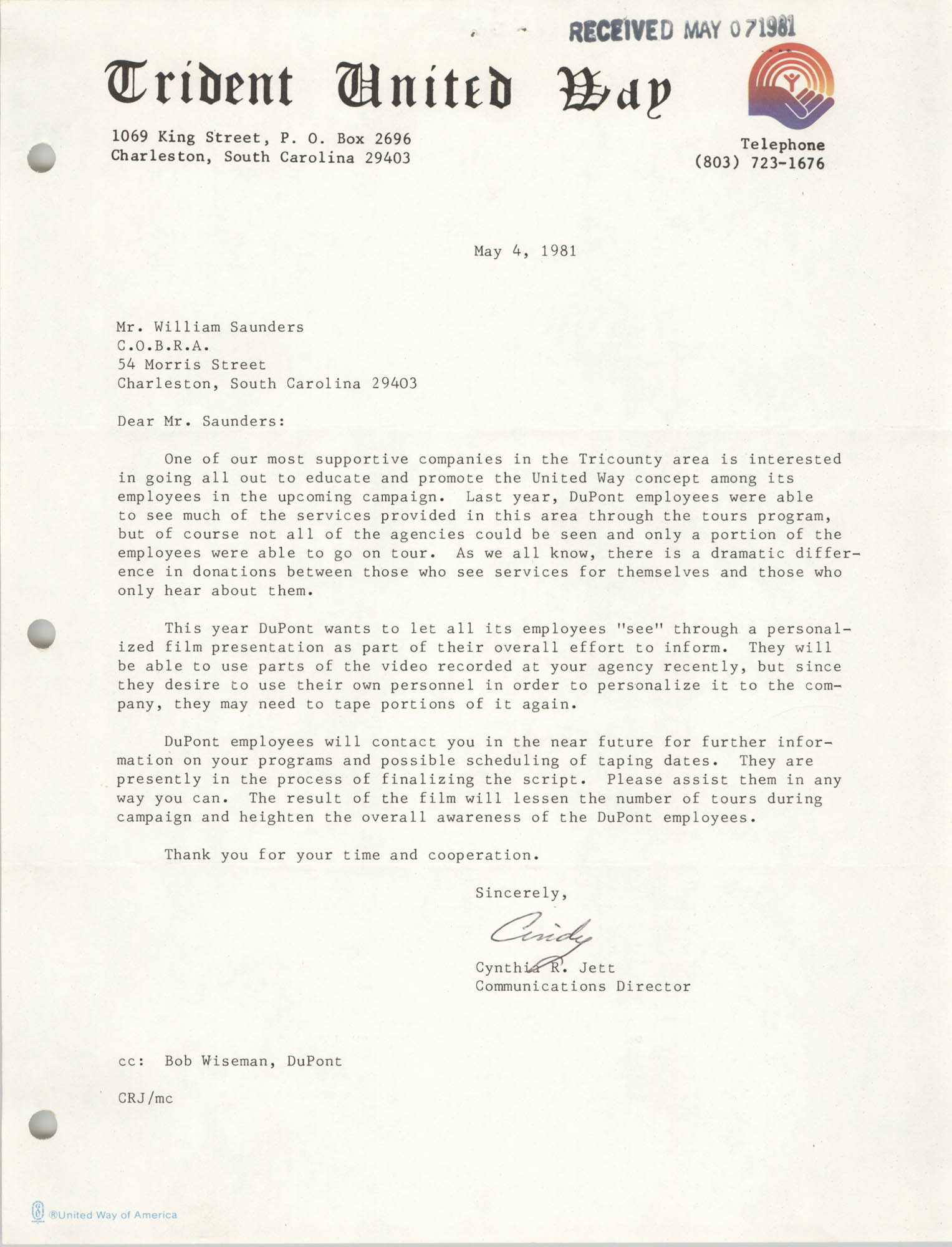 Letter from Cynthia R. Jett to William Saunders, April 20, 1981