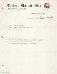 Trident United Way Memorandum, February 27, 1980