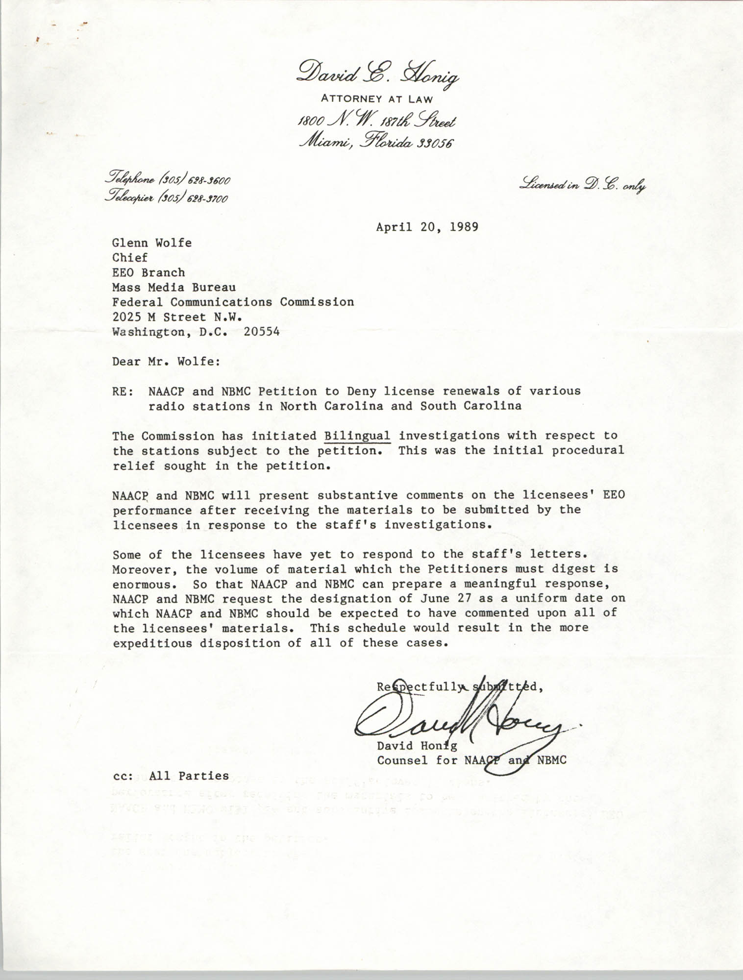 Letter from David Honig to Glenn Wolfe, April 20, 1989