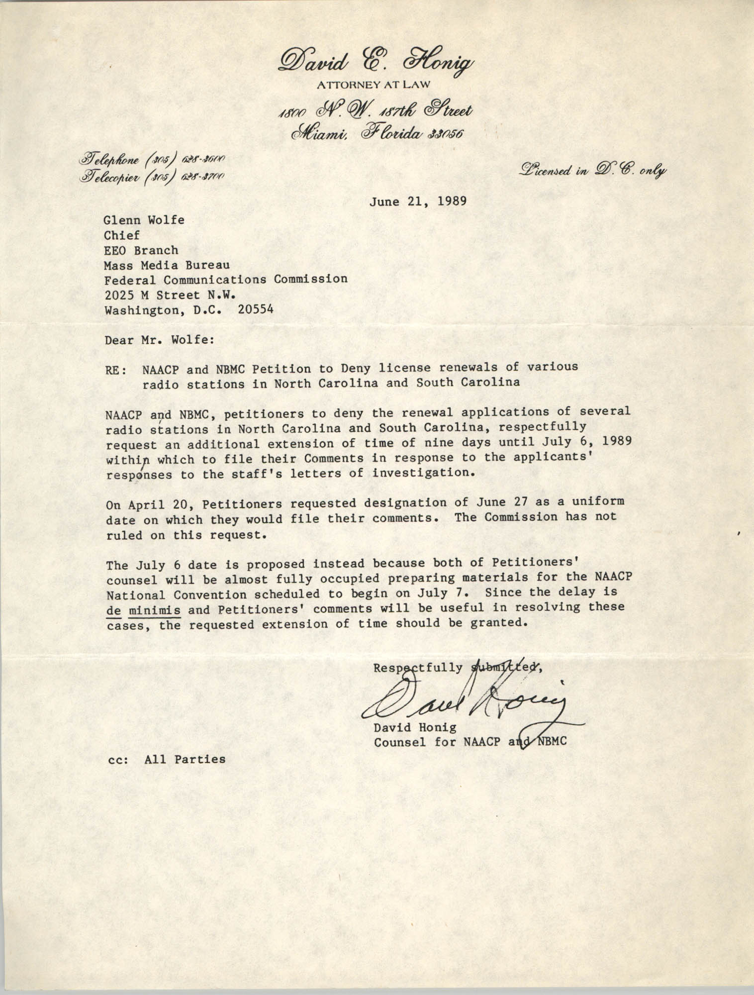 Letter from David Honig to Glenn Wolfe, June 21, 1989