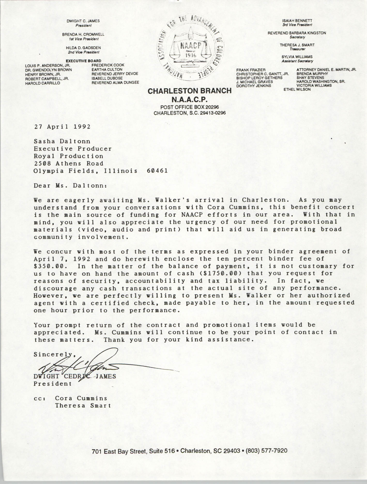 Letter from Dwight C. James to Sasha Daltonn, April 27, 1992