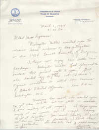 Letter from Office of Yvonne B. Miller to