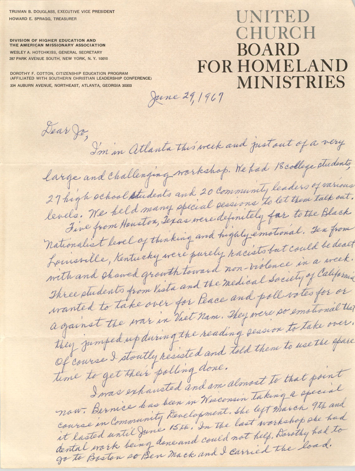 Letter from Septima P. Clark to Josephine Rider, June 29, 1967