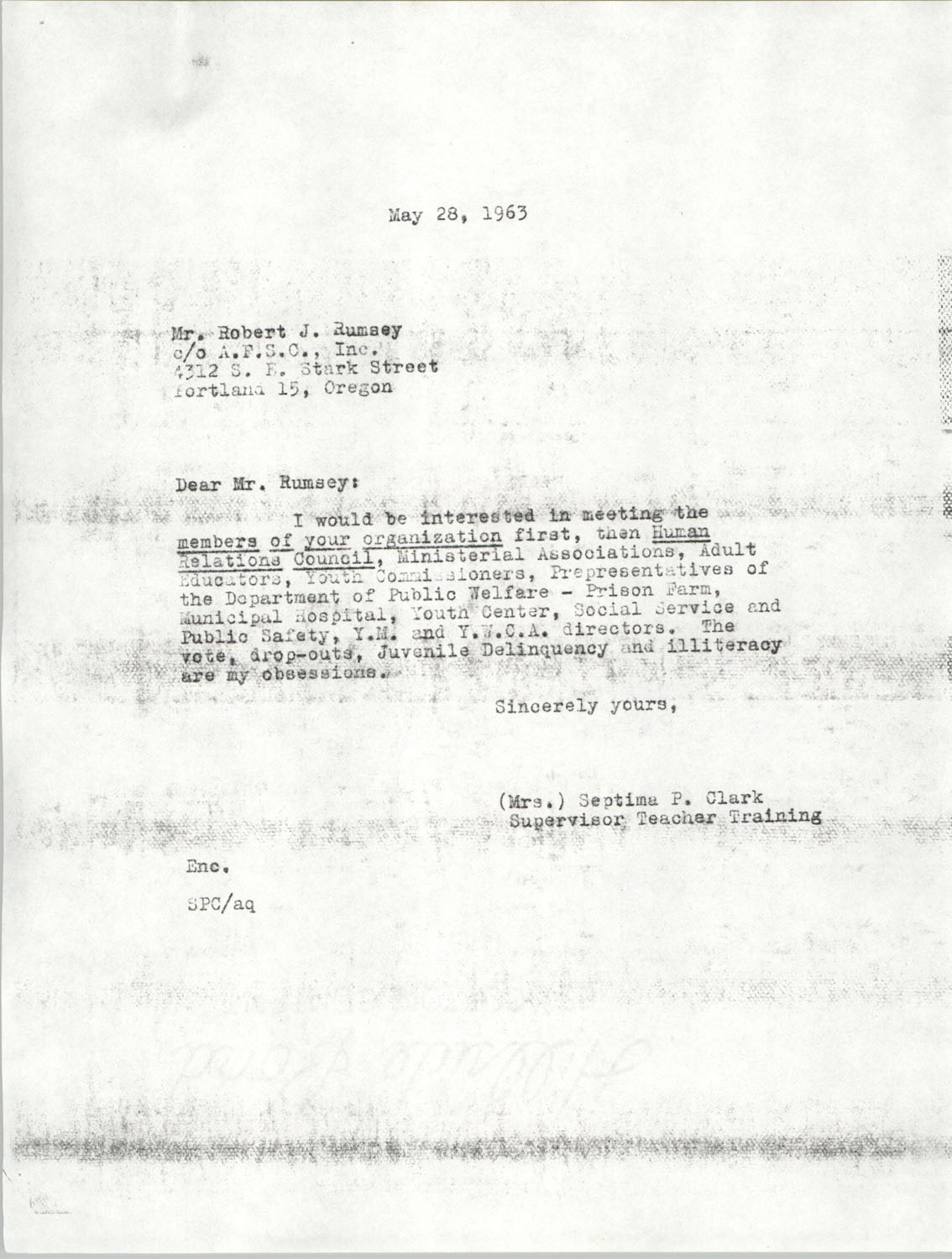 Letter from Septima P. Clark to Robert J. Rumsey, May 28, 1963