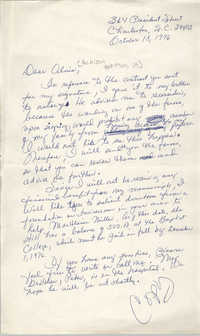 Letter from Septima P. Clark to Alvin Anderson, October 18, 1976