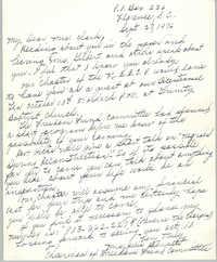 Letter from Julia Bennett to Septima P. Clark, September 27, 1976