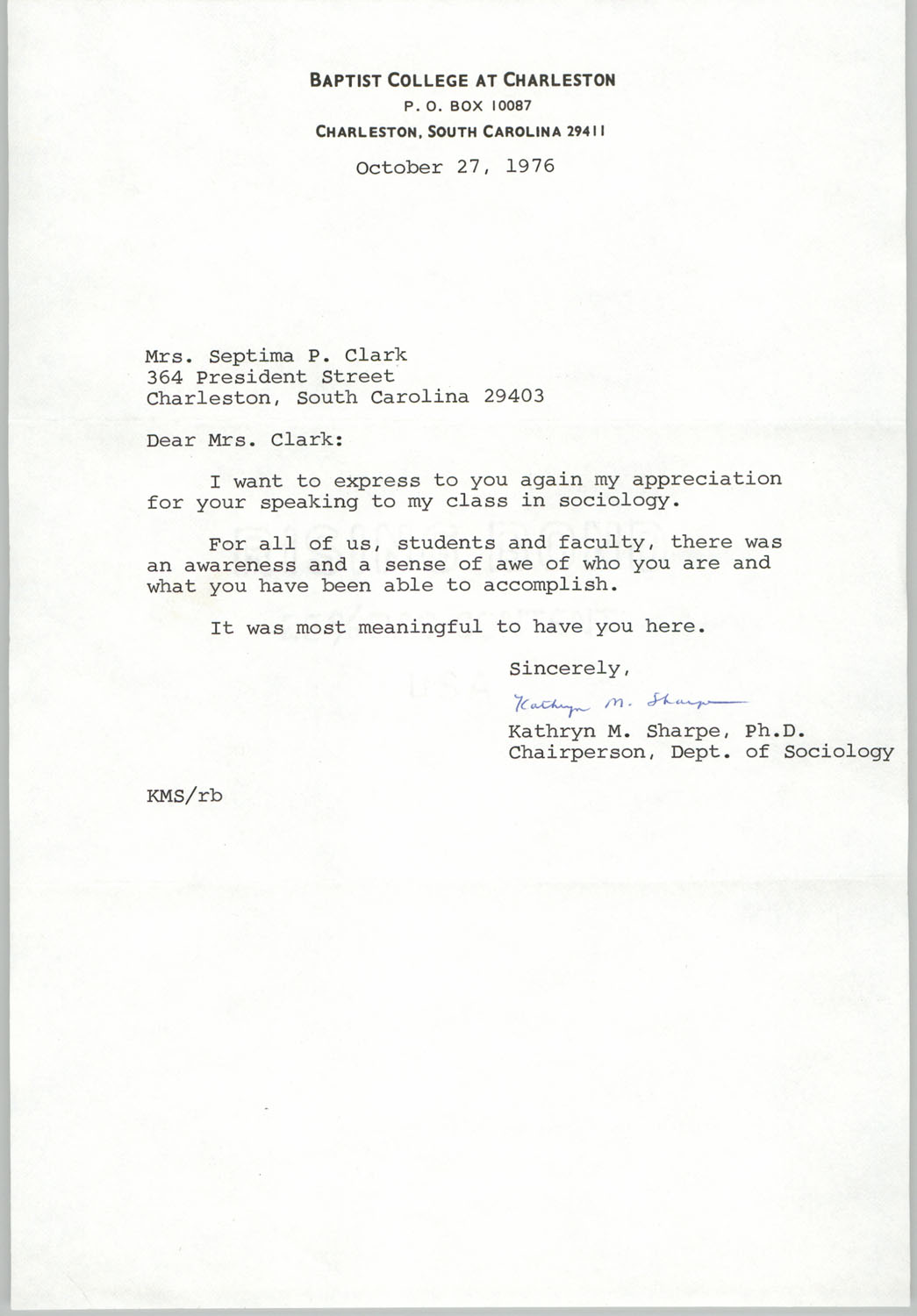 Letter from Kathryn M. Sharpe to Septima P. Clark, October 27, 1976