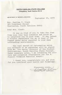 Letter from Helen Goff LeBlanc to Septima P. Clark, September 24, 1976