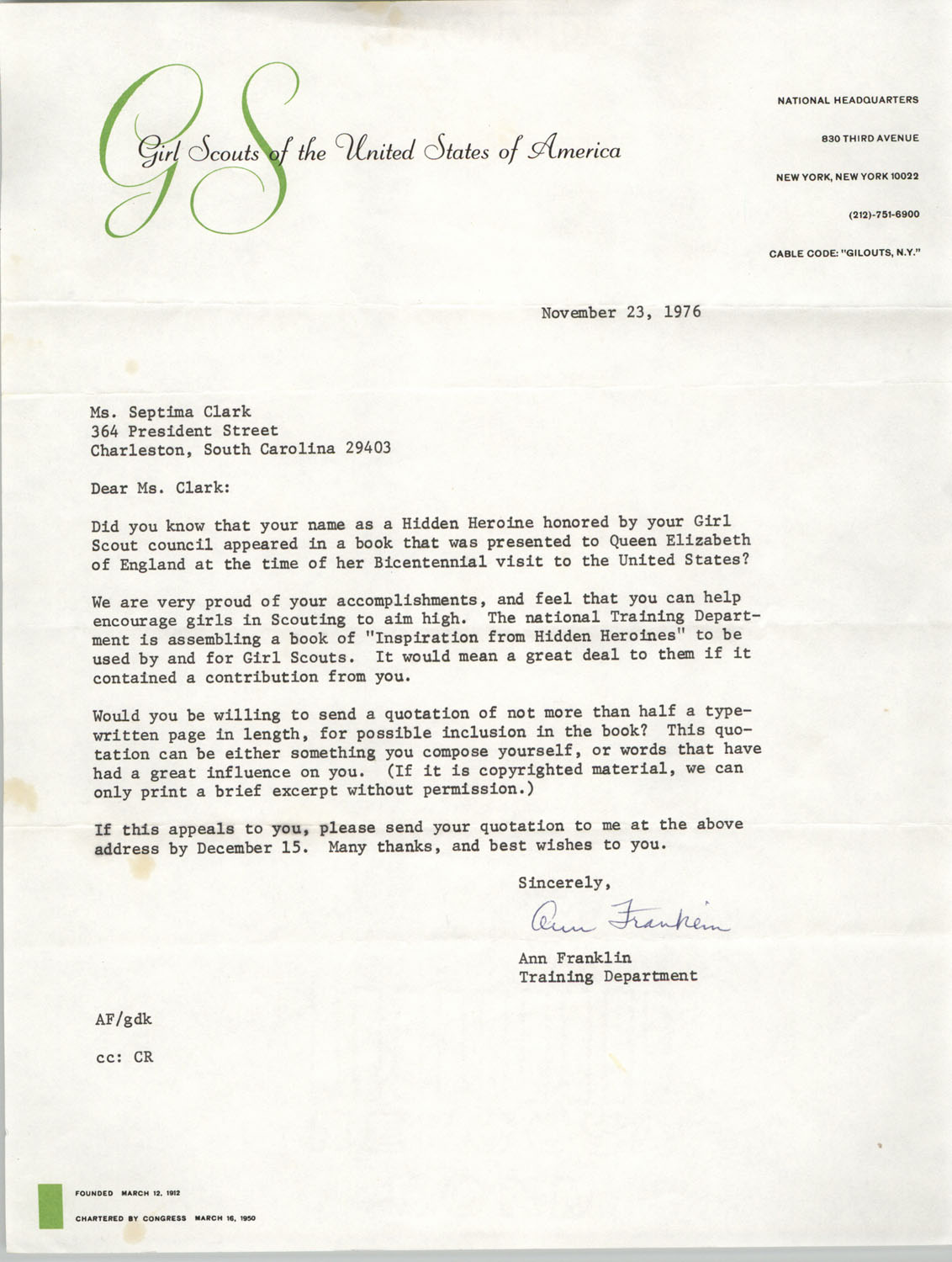 Letter from Ann Franklin to Septima P. Clark, November 23, 1976