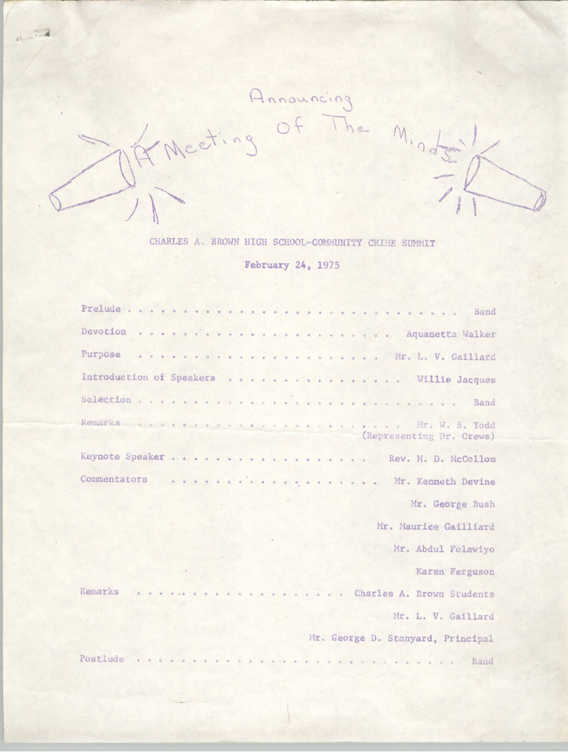 Charles A. Brown High School Community Crime Summit Program, February 24, 1975