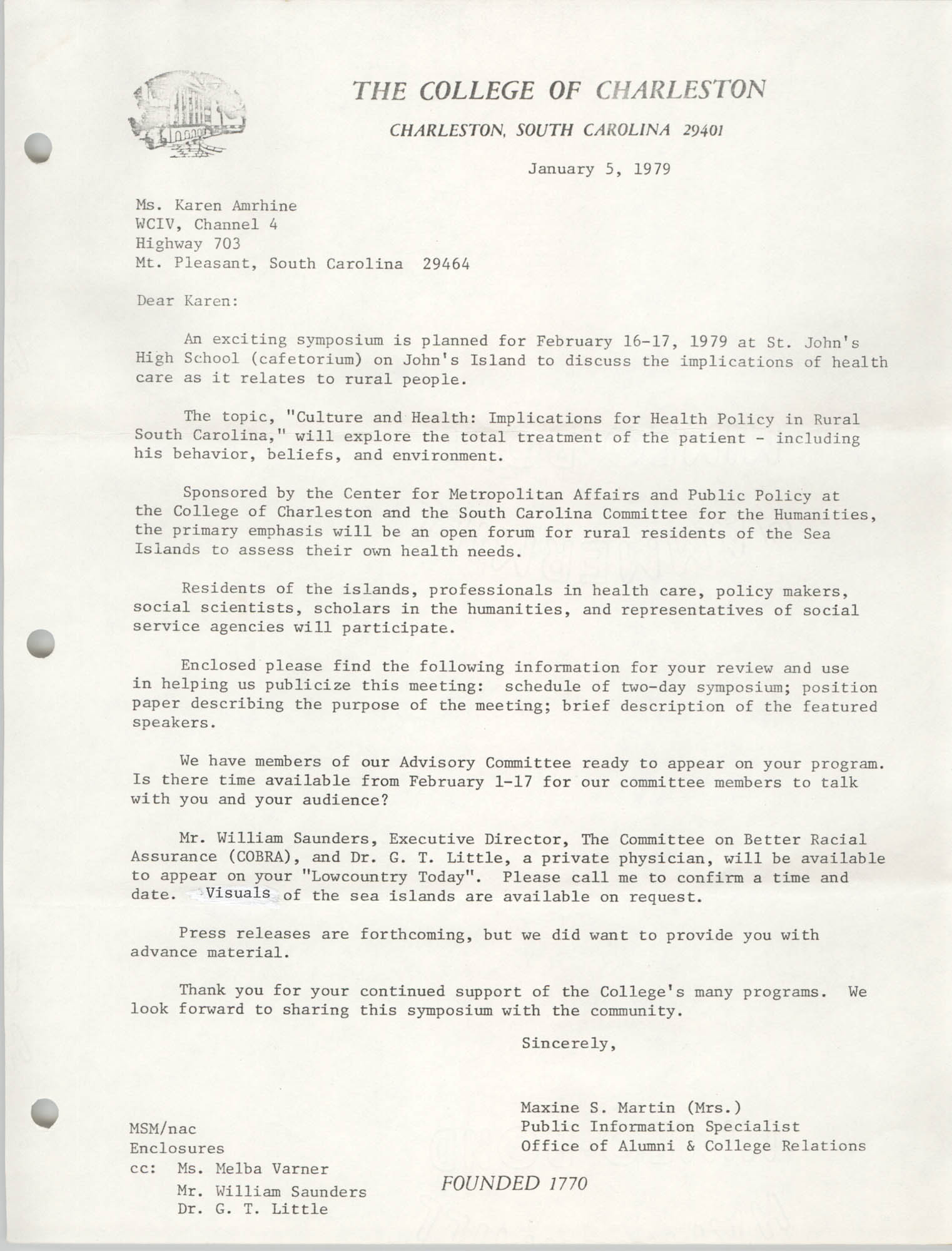 Letter from Maxine S. Martin to Karen Amrihine, January 5, 1979
