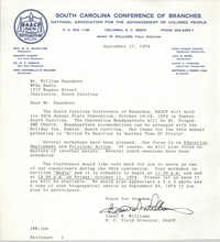 Letter from Isaac W. Williams to William Saunders, September 17, 1974
