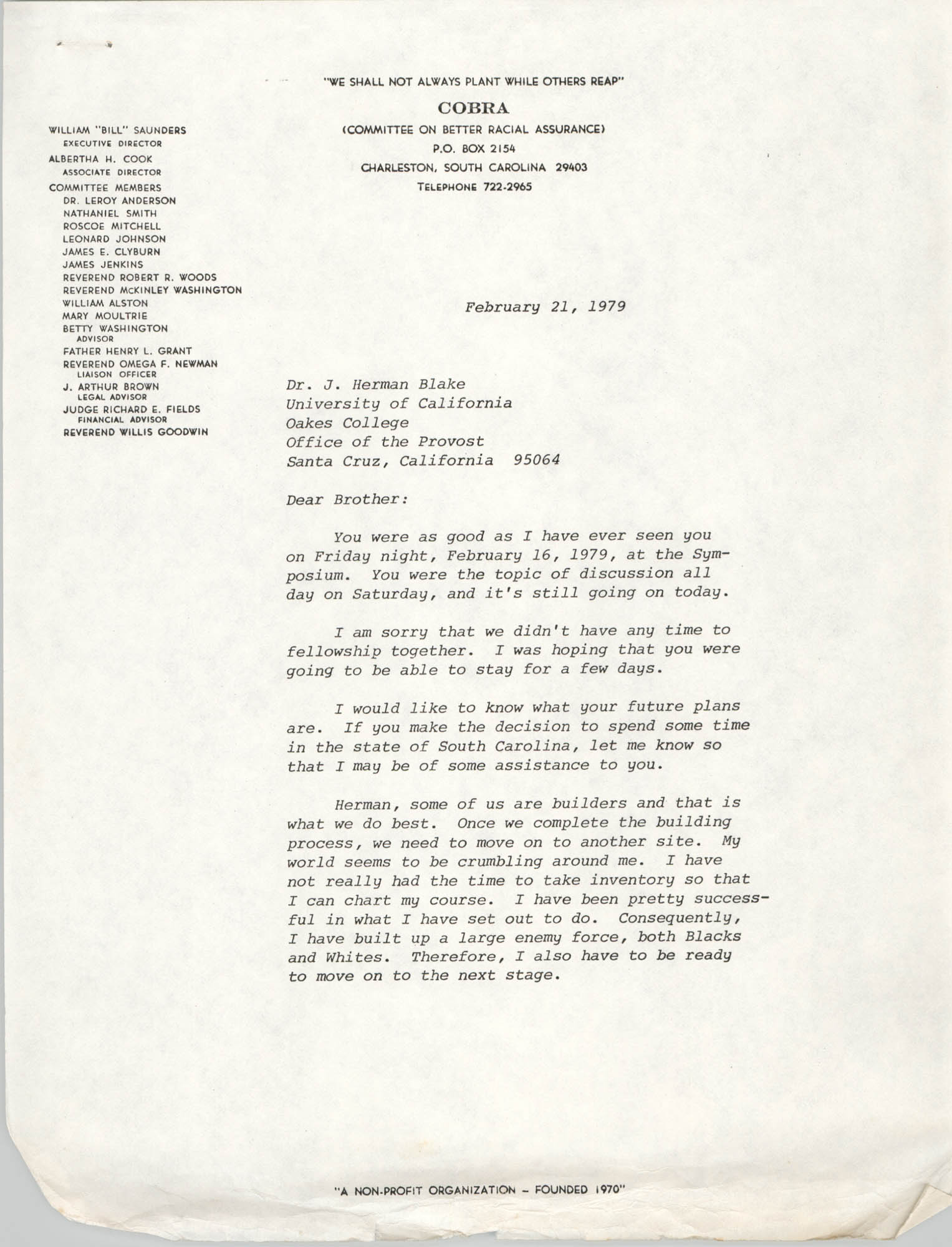 Letter from William Saunders to J. Herman Blake, February 21, 1979