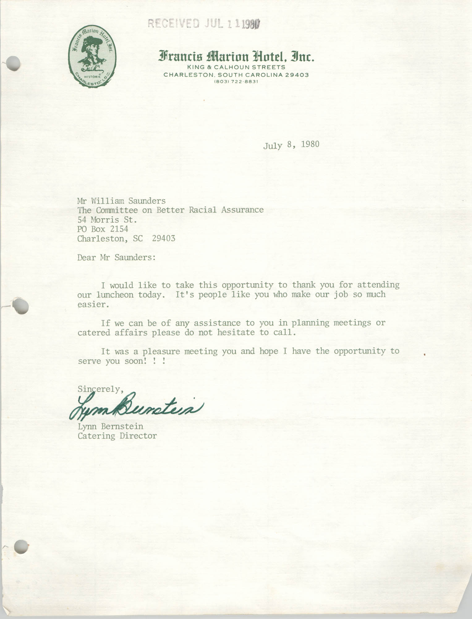 Letter from Lynn Bernstein to William Saunders, July 8, 1980
