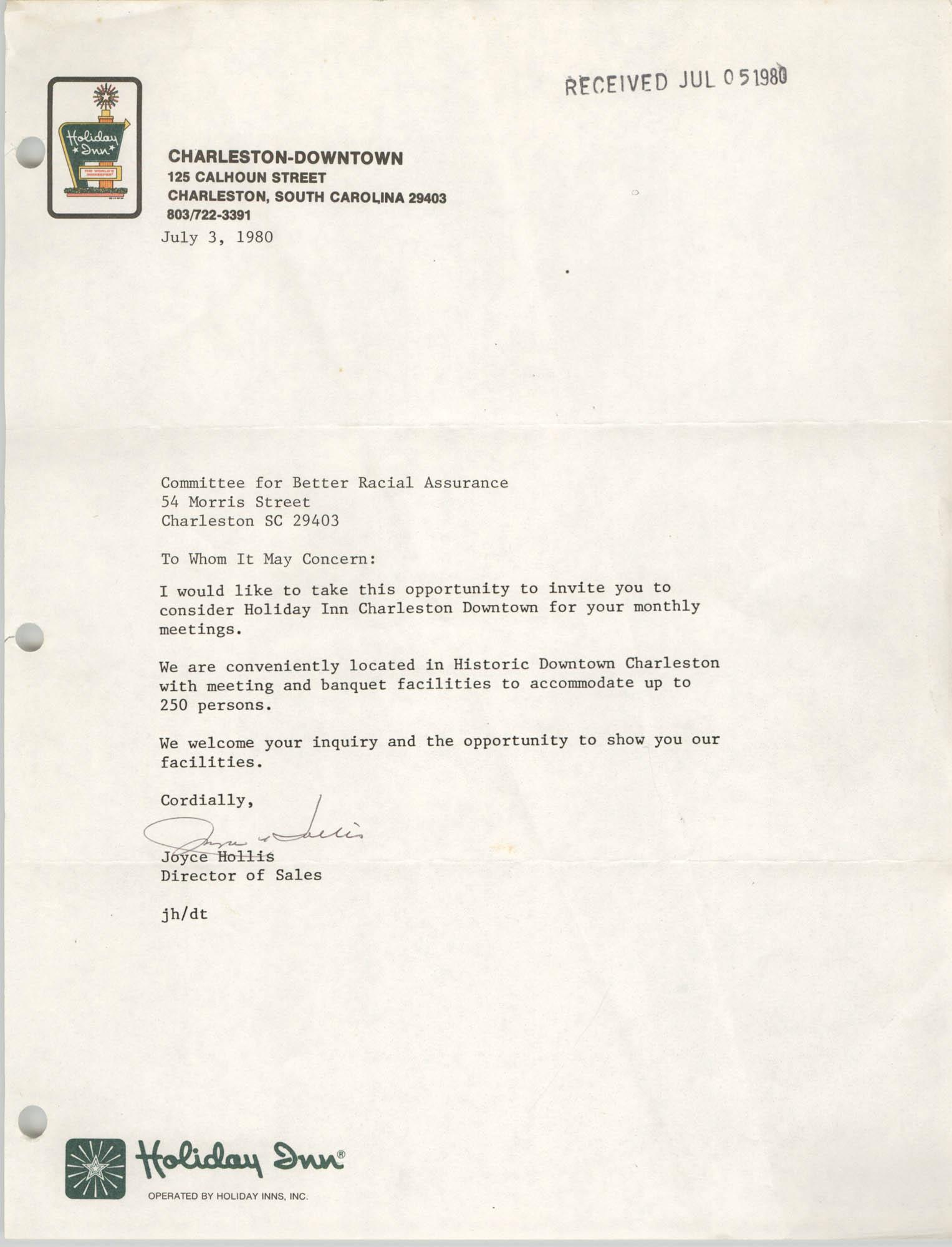 Letter from Joyce Hollis, July 3, 1980