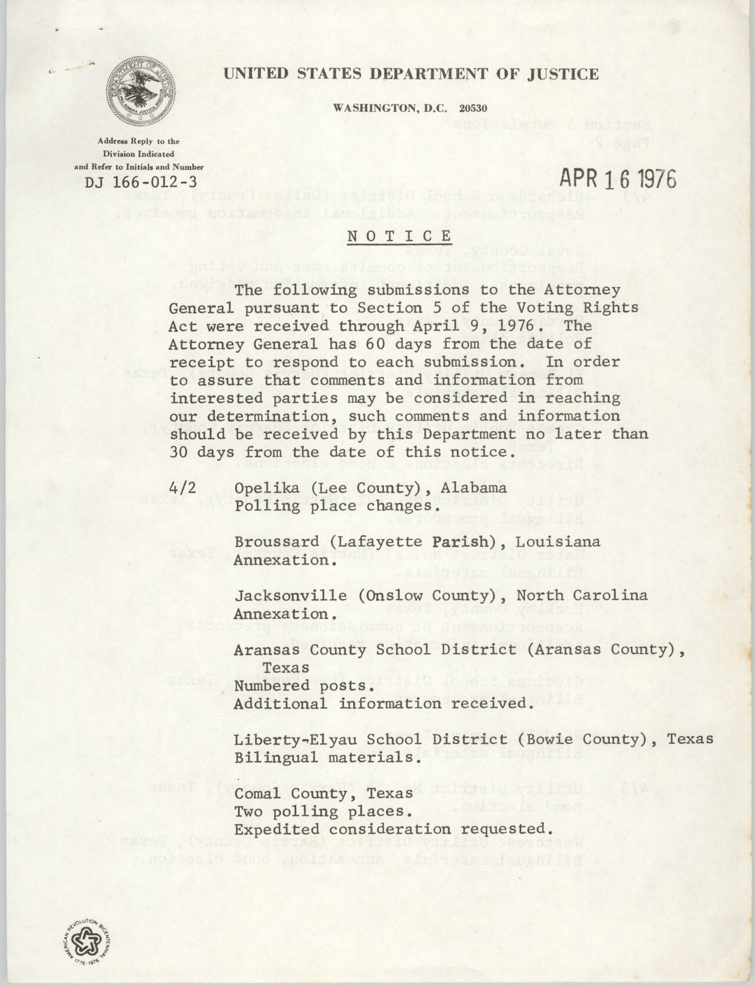 United States Department of Justice Notice, April 16, 1976