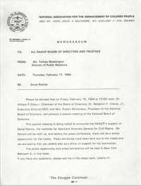 NAACP Memorandum, February 17, 1994