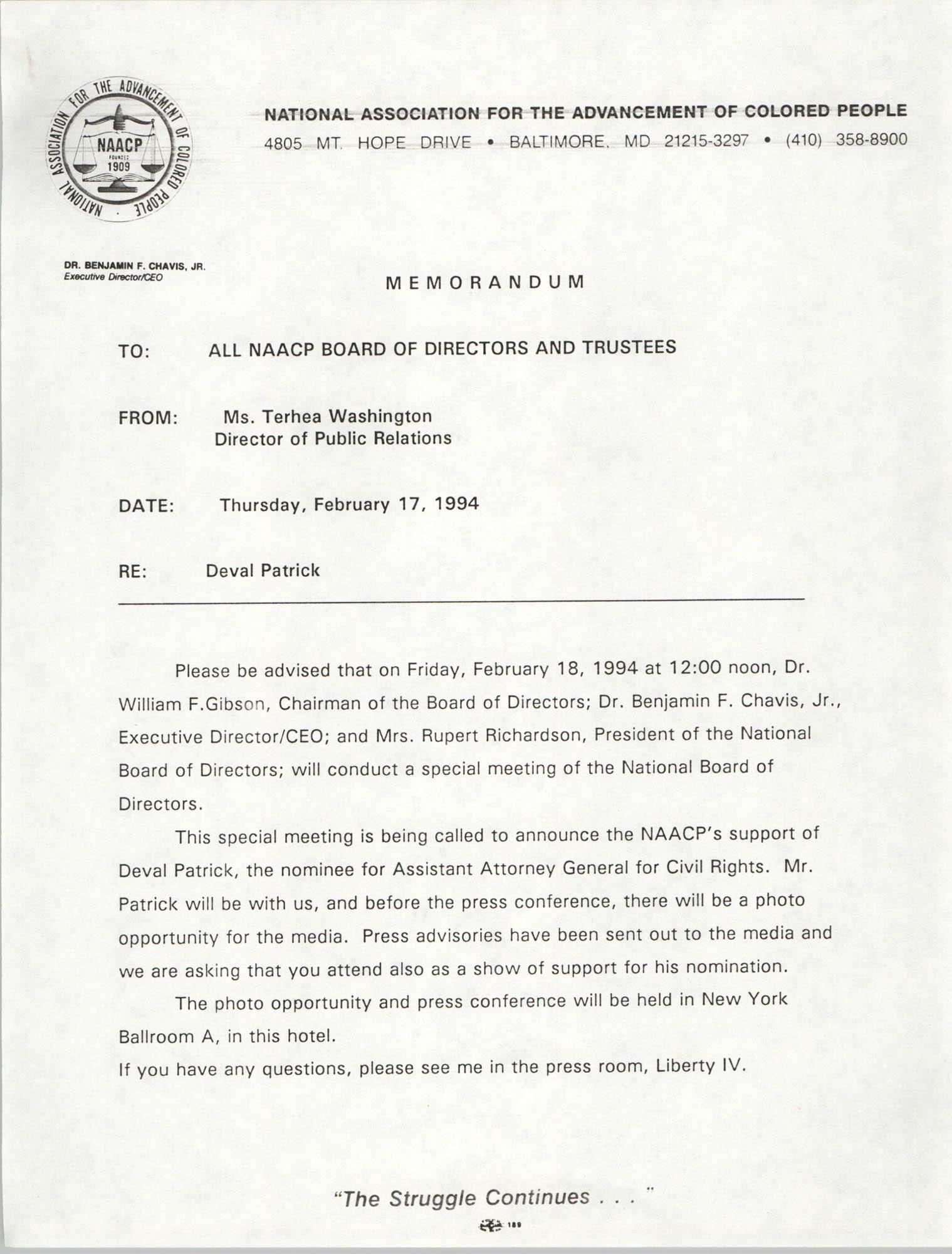 NAACP Memorandum, February 17, 1994
