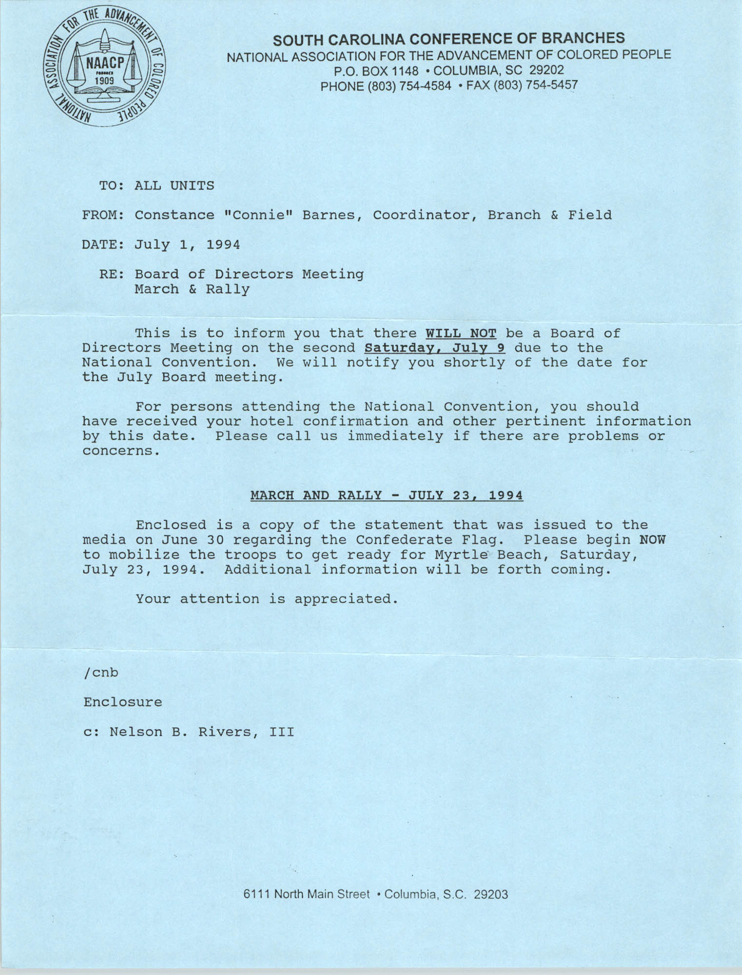 South Carolina Branch of the NAACP Memorandum, July 1, 1994