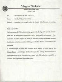 College of Charleston Memorandum, February 4, 1991