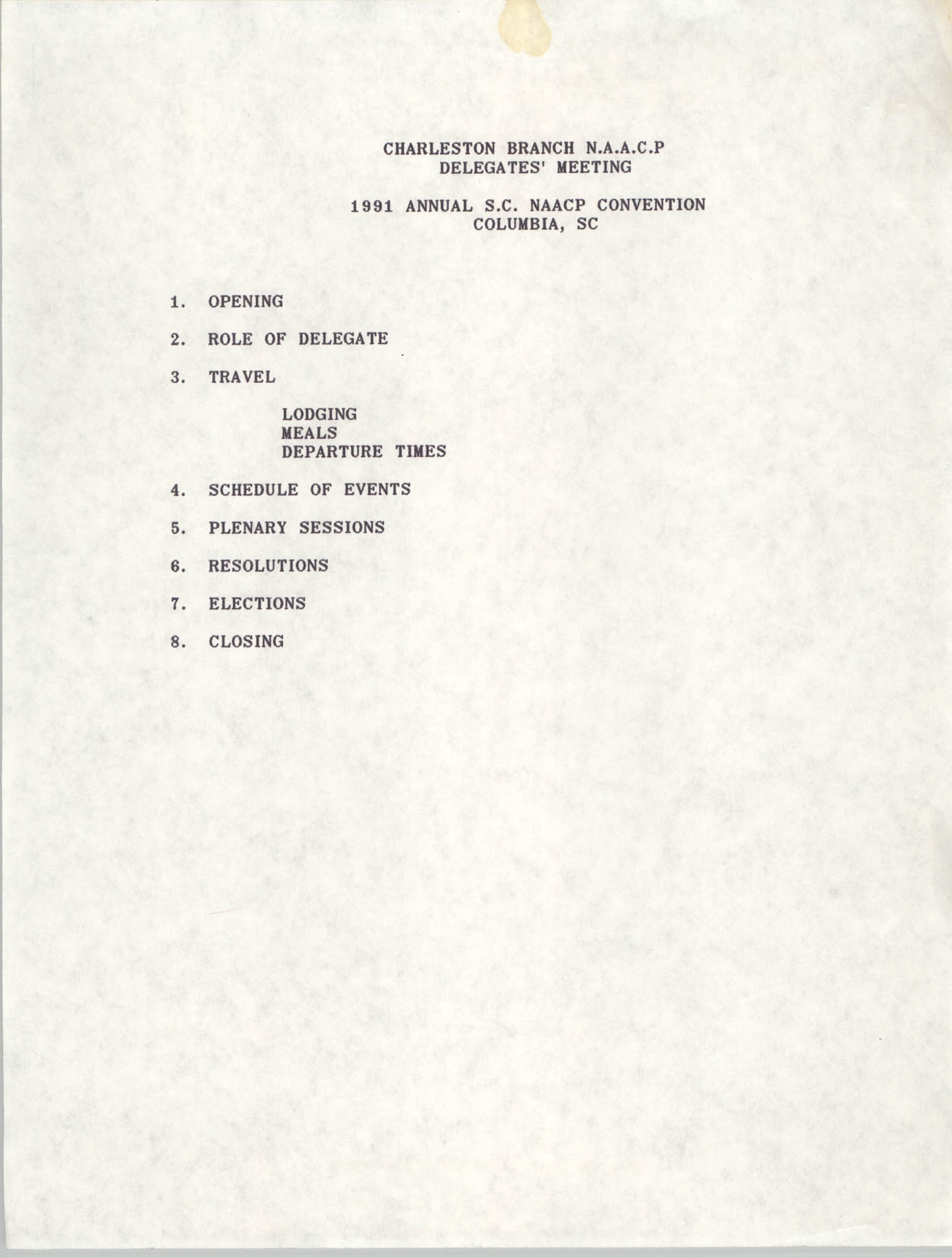 Charleston Branch NAACP 1991 Annual S.C. NAACP Convention Meeting Agenda