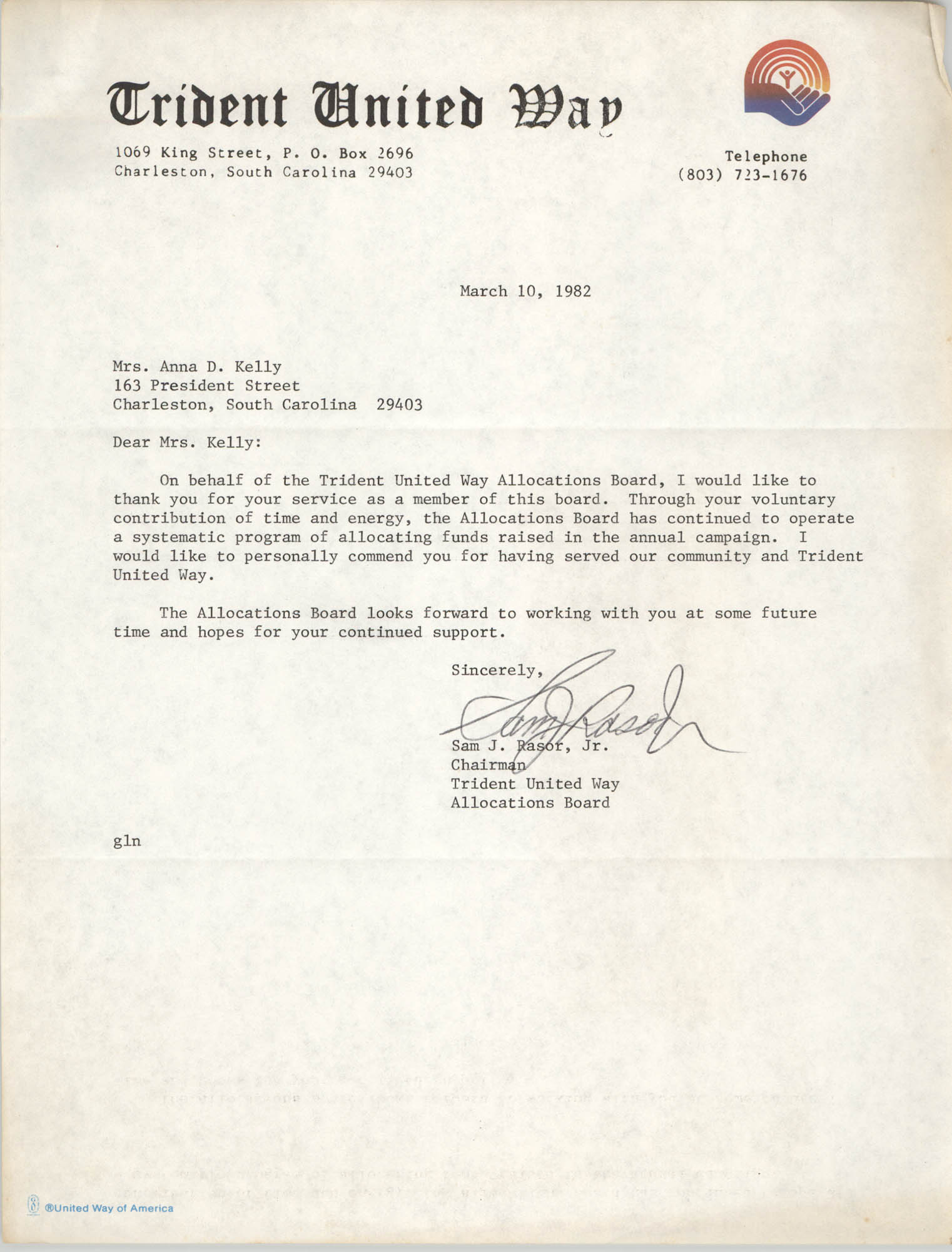 Letter from Sam J. Rasor, Jr. to Anna D. Kelly, March 10, 1982