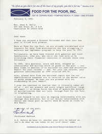 Letter from Ferdinand Mahfood to Anna D. Kelly, February 6, 1991