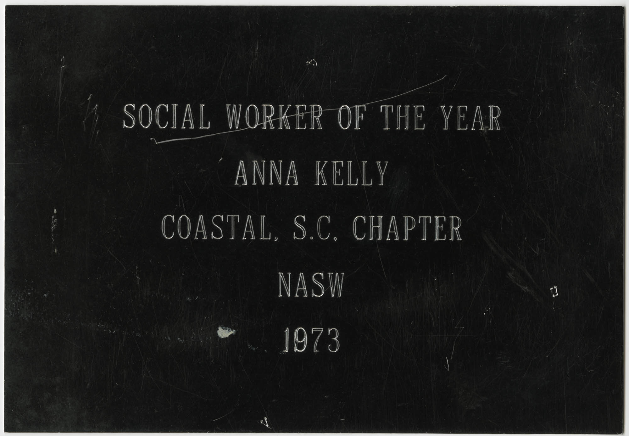 Plaque, Social Worker of the Year, Anna D. Kelly