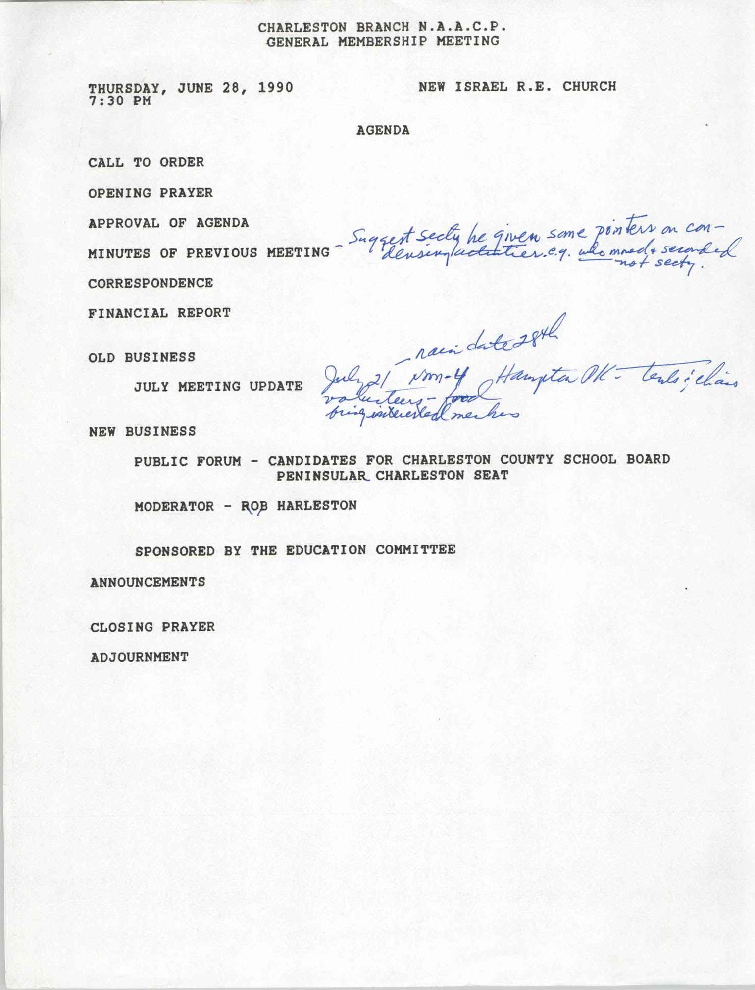 Agenda, Charleston Branch of the NAACP, General Membership Meeting, June 28, 1990